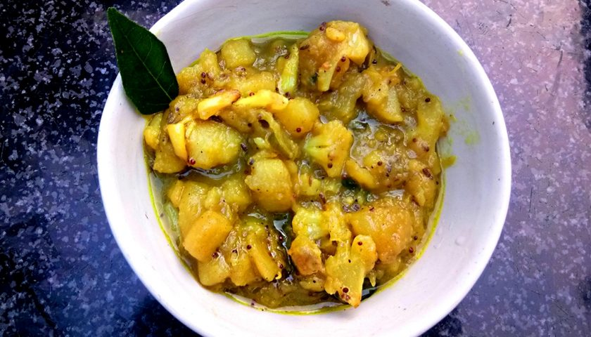 Chakkarai valli curry: batatas in Tamil Nadu