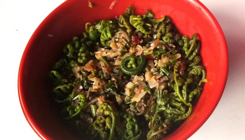 Fiddlehead ferns with garlic butter